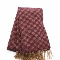 Acne Studios Scarf Stole Plaid Wool Purple Beige Fringe Photo