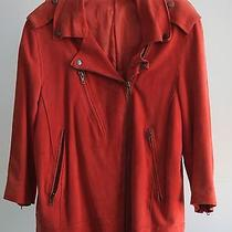 Acne Studios Smith Suede Biker Jacket in Red Size 36 Photo