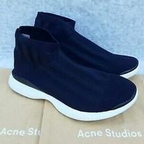 Acne Studios Tristan Low Uk 6 Eu 39 Dark Blue Rib Knit Sock Sneakers Trainers Photo