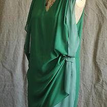 Acne Sweden 2 Tone Green Georgette Asymmetric Dress Photo