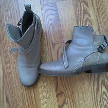 Acne Sz 38 7.5 Grey Brown Clover Ankle Boots Leather  Suede Photo