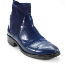 Acne Womens Leather Round Toe Slip on Ankle Boots Blue Size 10 Photo
