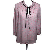 Active Usa Collection Women Pink Blush Flora With Black Tie Blouse Sz L Photo