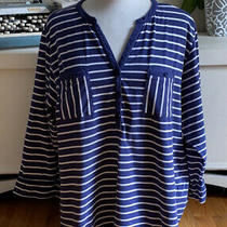 Addison Meadow 3/4 Sleeve Womens Navy Blue White Striped Stretch Knit Top Xl Photo