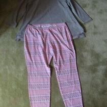 Addison Meadow Women's 2x Pajama Set Gray Top Pink Design Pants Cotton Polyester Photo