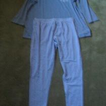 Addison Meadow Women's 2x Pajama Set Light Blue Top Check Bottoms Lightweight Photo