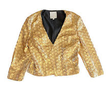 Addison Nyc Gold Circle Pattern Sequin Open Front Jacket Blazer Size S 183 Photo