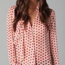 Addison Painted Dot Ruffle Blouse Size S Photo