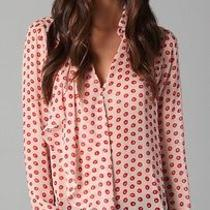 Addison Painted Dot Ruffle Blouse Size S Photo