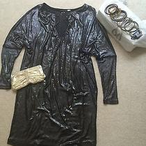 Addison Story Pewter Dress 3/4 Sleeve Xs Gold Clutch Necklace & Earrings Outfit Photo