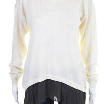 Addison Womens Long Sleeve Ruffled Trim Boat Neck Sweater White Gray Size Large Photo