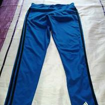 Adidas 3 Stripe Womens Leggings Blue  Black With Embroidery Defect Size 8 to 14 Photo