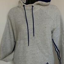 Adidas Athletic Pull Over Hoodie Womans Size  Medium Gray With Blue Accent  Photo