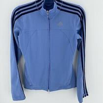 Adidas Baby Blue Track Jacket Zip Up Womens Size Small Photo