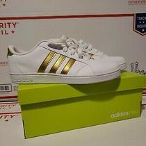 Adidas Baseline Kids Size 4.5. 4 1/2 White/gold New Photo