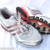 Adidas Boost Running Sneakers Shoes Womens 9 Creamy Red Gray White Excellent Photo