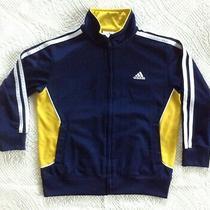 Adidas Boys Jacket Athletic Navy & Gold L/sleeve Full Zip Size 6 Photo