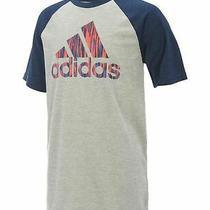 Adidas Boys Grey Navy Climalite Moisture Wicking Performance T-Shirt Size 4 New Photo