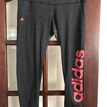 Adidas Climalite Leggings Grey Hot Pink Logo Size Xl 18 20 22 Photo