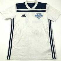 Adidas Clutch Soccer Jersey Size Small S White Dry Fit Shirt Short Sleeve v-Neck Photo