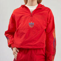 Adidas Cropped Half Zip Red Jacket Gj7717 Women Size M Photo