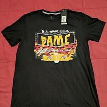 Adidas Dame 5 Tee Mens T-Shirt M Dolla Damian Lillard Blazers Black Gold Pink Photo