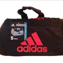 Adidas Diablo Small Duffel  Gym Bag Black Orange Logo Photo