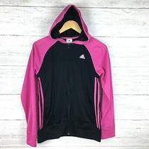 Adidas Girl's Pink and Black Zip Front Hoodie Jacket  Lightweight 3 Stripes Xl Photo