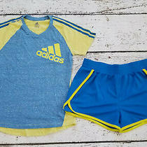 Adidas Girls Blue Yellow Top and Blue Mesh Athletic Shorts 10 12 Euc Photo