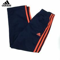 Adidas Girls Track Pants Blue Orange Striped Size 6 Active Sports Photo
