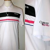 Adidas Golf W/cowboys Golf Club Logo White Polyester Short Sleeve Polo Shirtl Photo