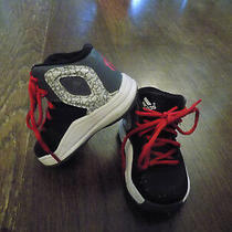 Adidas High Top Red Tie Toddler Baby Sz 4 Shoes Black Grey Euc Very Clean Cute Photo