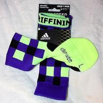 Adidas L 9.5-12 Rg Iii 3 Robert Griffin Ing Socks Climalite Crew 5129574 Purple  Photo