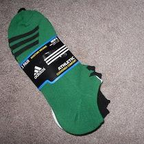 Adidas Men 3 Pair No Show Ankle Socks Cushioned Comfort New Green Black Running Photo