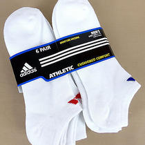 Adidas Men 6 Pr Athletic Cushioned No Show White Socks Fits Shoe Sz 6-12  Photo