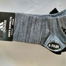 Adidas Men's Superlite Grey Black Multi No-Show Sport Socks 6-Pack Nwt Size 6-12 Photo