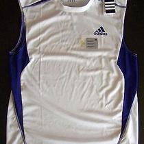 Adidas Mens 45 Polyester Jersey Running-Basketball-Fitness White-Royal Blue M Photo