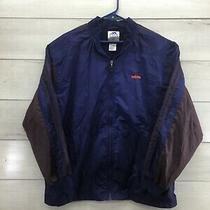 Adidas Mens Blue Brown Light Weight Wind Breaker Jacket Coat Mens L Excellent Photo