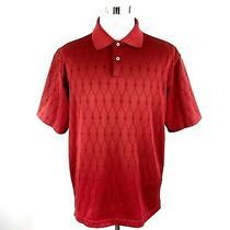 Adidas Mens Climacool Short Sleeve Polo Golf Shirt Argyle Diamond Print Red Xl Photo