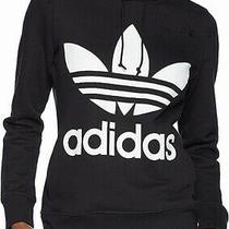Adidas Mens Sweater Black Size Small S Logo Front Pocket Hooded 48- 342 Photo