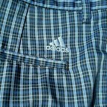 Adidas Mens Sz 38 Polyester Blue Plaid Zip Fly Golf Shorts Photo
