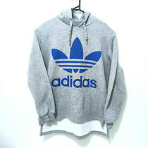 Adidas Mens Trefoil Logo Hoodie Size L Grey Long Sleeve Jumper Sweater Pullover Photo