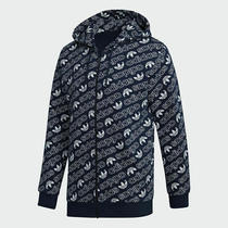 Adidas Monogram Men's Full Zip Hoodie Collegiate Navy Blue White Dh4782 Photo