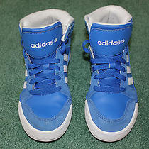 Adidas Neo Label Boy's Size 4.5 Blue & White High Top Sneakers F39034 Like New  Photo