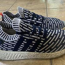 Adidas Nmd R2 Primeknit Collegiate Navy White Pk Boost Running Shoes Men Size 10 Photo