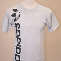 Adidas Originals Linear Trefoil Heather Gray Short Sleeve Mens Cotton Shirt  L Photo