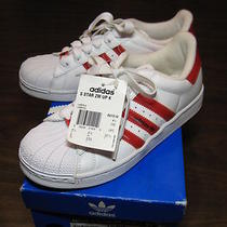 Adidas Originals Superstar Lifestyle White/red Shell Toe Shoes Size Us Mens 5  Photo