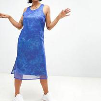 Adidas Originals Women's Chiffon Midi Tank Dress Ocean Elements Tie Dye Batik Photo