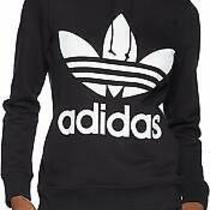 Adidas Originals Women's Trefoil Hoodie Black/french Terry Black Size Large Photo