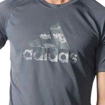 Adidas Performance Graphic Tee Men Climalite Gray T-Shirt Medium Photo